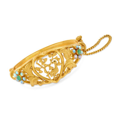 C. 1980 Vintage Opal and Jade Chinese Wedding Bracelet in 24kt Yellow Gold, , default
