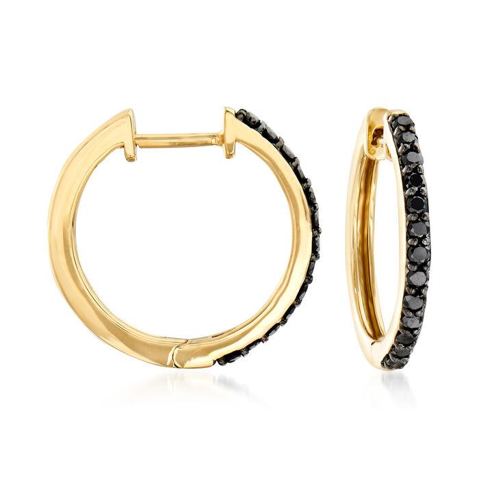 """.25 ct. t.w. Black Diamond Hoop Earrings in 14kt Yellow Gold. 1/2"""""""