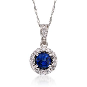 ".75 Carat Sapphire and .20 ct. t.w. Diamond Pendant Necklace in 14kt White Gold. 16"", , default"