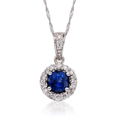 .75 Carat Sapphire and .20 ct. t.w. Diamond Pendant Necklace in 14kt White Gold, , default