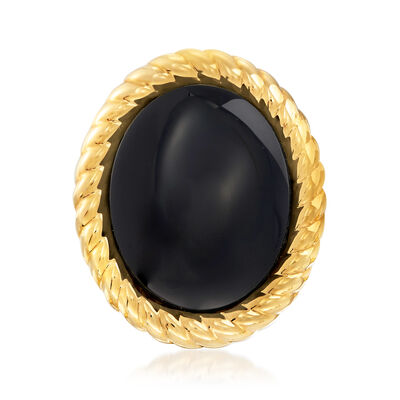 Italian Andiamo 14kt Yellow Gold and Black Onyx Ring, , default