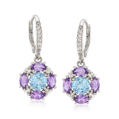 3.3 ct. t.w. Multi-Gem Earrings in Sterling Silver, , default