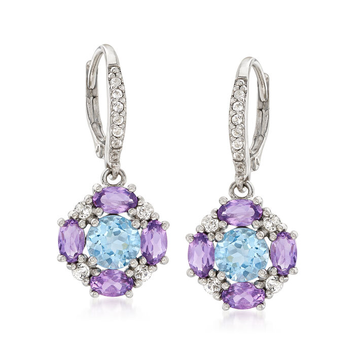 3.30 ct. t.w. Multi-Gem Earrings in Sterling Silver