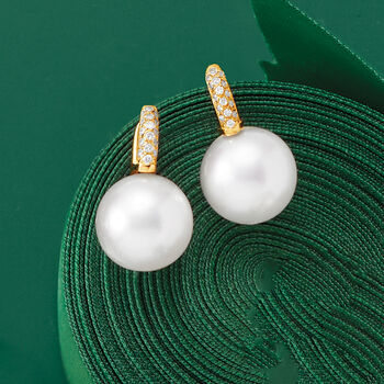 12-13mm Cultured South Sea Pearl and .16 ct. t.w. Diamond Earrings in 18kt Yellow Gold. Drop Earrings