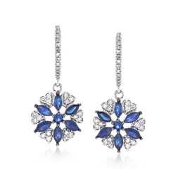1.08 ct. t.w. Sapphire and .32 ct. t.w. Diamond Floral Drop Earrings in 14kt White Gold , , default
