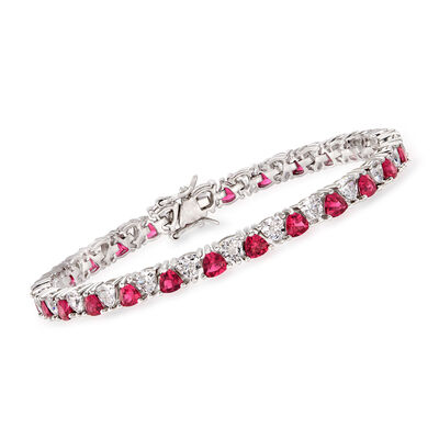 5.00 ct. t.w. Simulated Ruby and 5.00 ct. t.w. CZ Tennis Bracelet in Sterling Silver