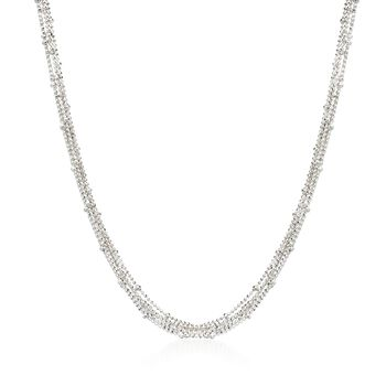 "Italian Sterling Silver Multi-Strand Bead Chain Necklace. 18"", , default"
