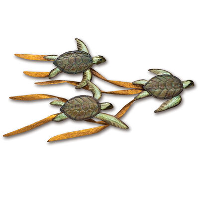 T.I. Design Stainless Steel Baby Sea Turtles Wall Art, , default