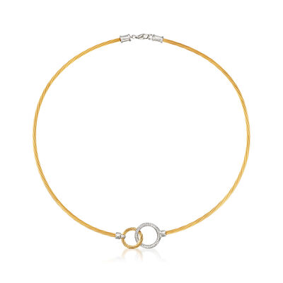 "ALOR Two-Tone ""Classique"" .19 ct. t.w. Diamond Interlocking Circles Stainless Steel Cable Necklace with 18kt White Gold, , default"
