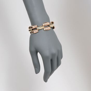 """C. 1940 Vintage Mossalone 14kt Two-Tone Gold Barrel Bracelet. 7.25"""", , default"""