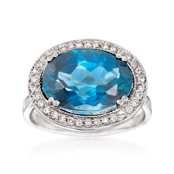 6.50 Carat London Blue Topaz and .27 ct. t.w. Diamond Ring in 14kt White Gold, , default