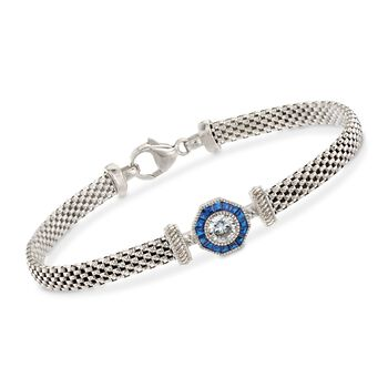 """.47 ct. t.w. CZ and .10 ct. t.w. Synthetic Sapphire Halo Bracelet in Sterling Silver. 7.25"""", , default"""