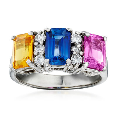 3.20 ct. t.w. Multicolored Sapphire and .26 ct. t.w. Diamond Ring in 18kt White Gold, , default
