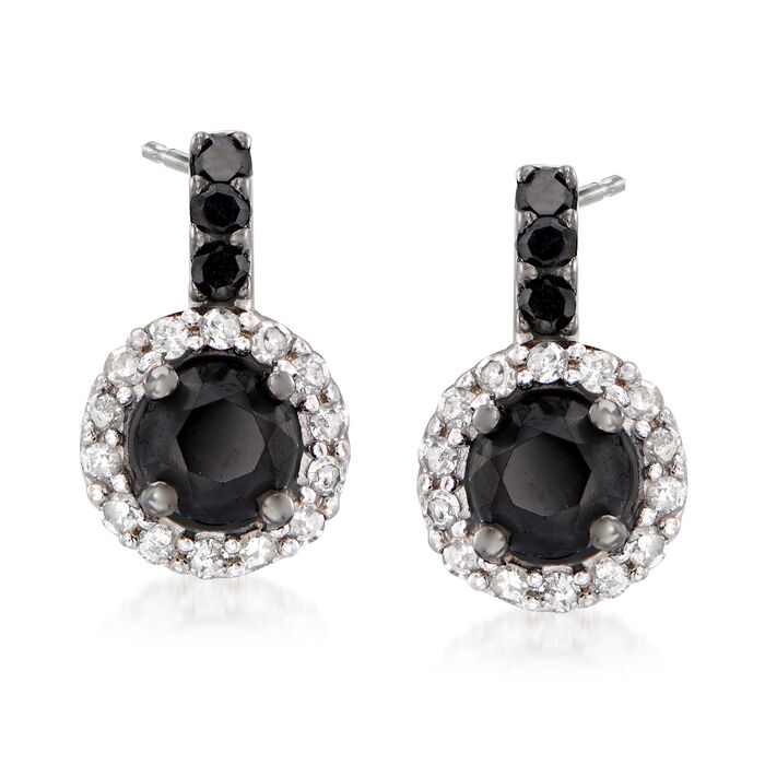 1.50 ct. t.w. Black and White Diamond Drop Earrings in Sterling Silver, , default