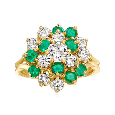 C. 1980 Vintage 1.30 ct. t.w. Diamond and .90 ct. t.w. Emerald Cluster Ring in 18kt Yellow Gold