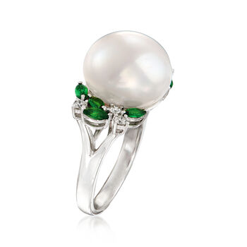 13-13.5mm Cultured Pearl, .70 ct. t.w. Tsavorite and .23 ct. t.w. Diamond Ring in 14kt White Gold. Size 7