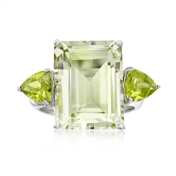 11.00 Carat Emerald-Cut Green Prasiolite and 1.40 ct. t.w. Peridot Ring in Sterling Silver