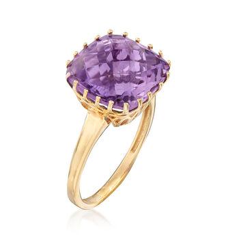 6.25 Carat Amethyst Ring in 14kt Yellow Gold, , default