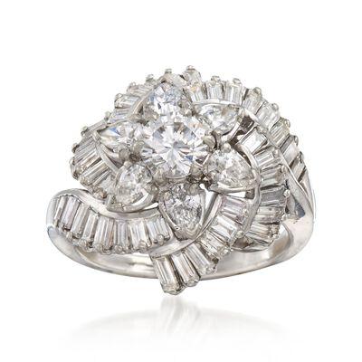 C. 1990 Vintage 3.76 ct. t.w. Certified Diamond Floral Cluster Ring in Platinum, , default