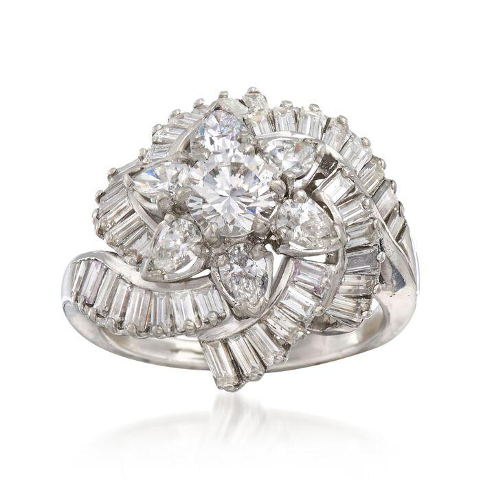 C. 1990 Vintage 3.76 ct. t.w. Certified Diamond Floral Cluster Ring in Platinum. Size 6, , default