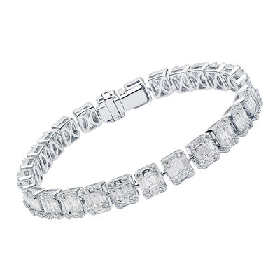 8.00 ct. t.w. Baguette and Round Diamond Rectangular Cluster Bracelet in 18kt White Gold