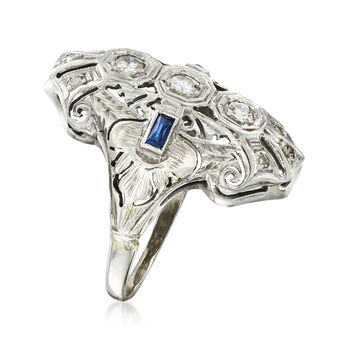 C. 1940 Vintage .35 ct. t.w. Diamond Filigree Ring with Synthetic Sapphire Accents in 18kt White Gold. Size 5.5, , default