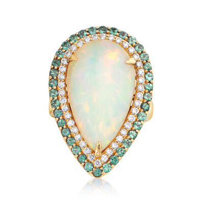 Opal, 1.40 ct. t.w. Alexandrite and .74 ct. t.w. Diamond Pear-Shaped Ring in 18kt Yellow Gold