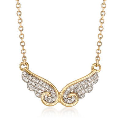 .10 ct. t.w. Diamond Wing Necklace in 14kt Yellow Gold, , default