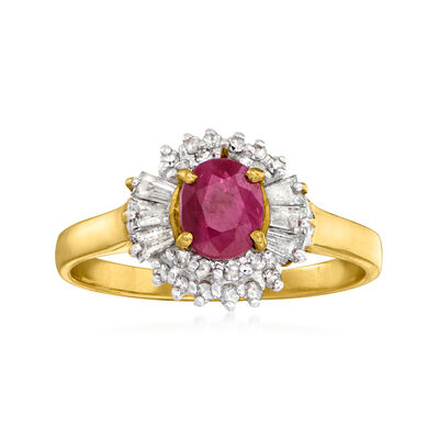 C. 1990 Vintage .70 Carat Ruby and .35 ct. t.w. Diamond Ring in 14kt Yellow Gold
