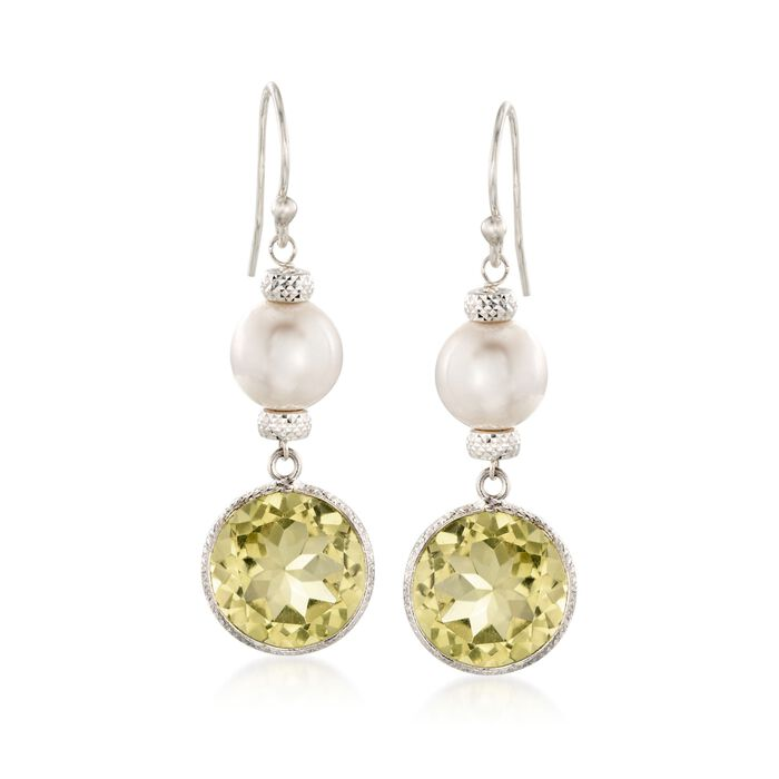 8-9mm Cultured Pearl and 12.00 ct. t.w. Lemon Quartz Drop Earrings in Sterling Silver, , default