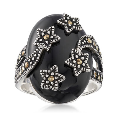 Onyx and Marcasite Star Cocktail Ring in Sterling Silver