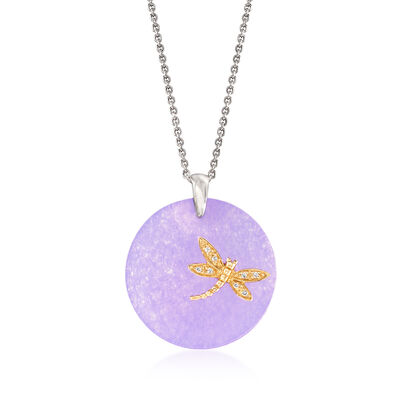 Purple Jade Dragonfly Pendant Necklace with White Topaz Accents in Sterling Silver and 14kt Yellow Gold, , default