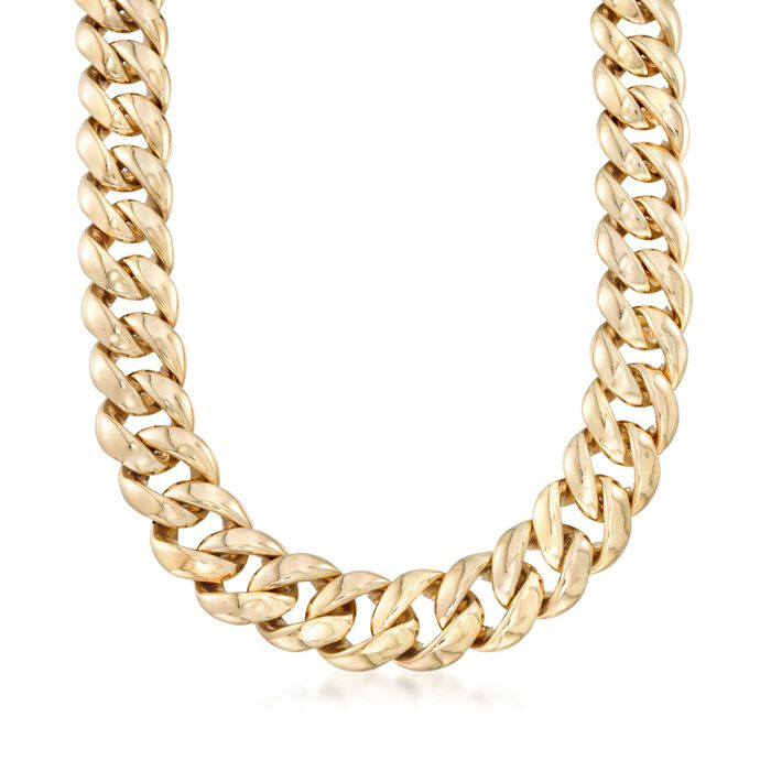 Italian 14kt Yellow Gold Curb-Link Necklace, , default