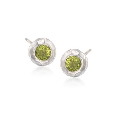 "Zina Sterling Silver ""Ripples"" 1.00 ct. t.w. Peridot Stud Earrings, , default"