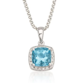 "1.65 Carat Blue Topaz Necklace With Diamonds in 14kt White Gold. 18"", , default"