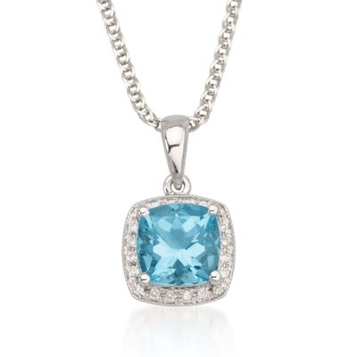 1.65 Carat Blue Topaz Necklace with Diamonds in 14kt White Gold, , default