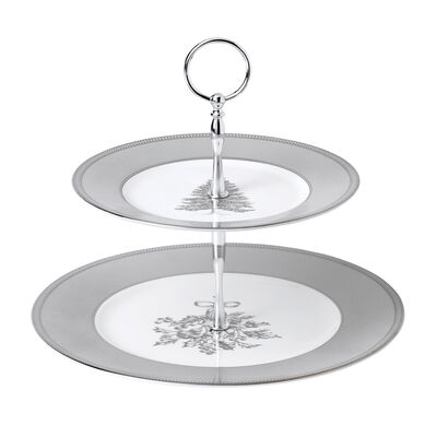 """Wedgwood """"Winter White"""" 2-Tier Cake Stand"""