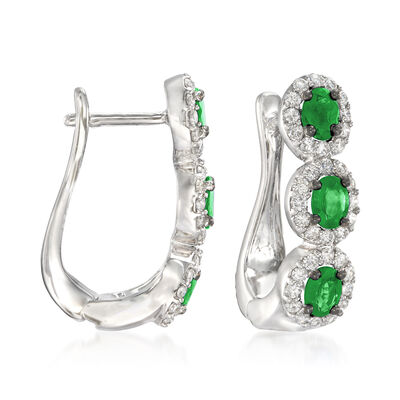 1.00 ct. t.w. Emerald and .63 ct. t.w. Diamond Drop Earrings in 18kt White Gold, , default