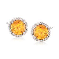 2.50 ct. t.w. Citrine Stud Earrings With Diamond Accents in 14kt Yellow Gold, , default