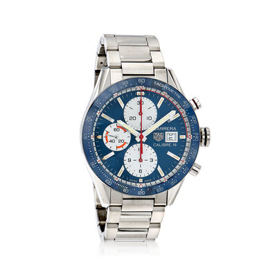 TAG Heuer Carrera Men's 41mm Auto Chronograph Stainless Steel Watch - Blue Dial, , default