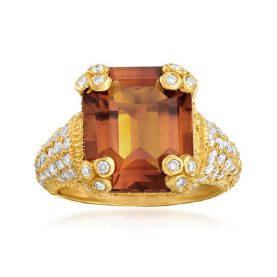 C. 2000 Vintage Judith Ripka 6.85 Carat Citrine and 1.60 ct. t.w. Diamond Ring in 18kt Yellow Gold, , default