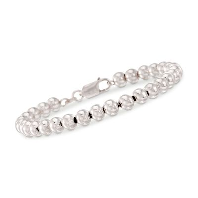 Italian 6mm Sterling Silver Polished Bead Bracelet, , default