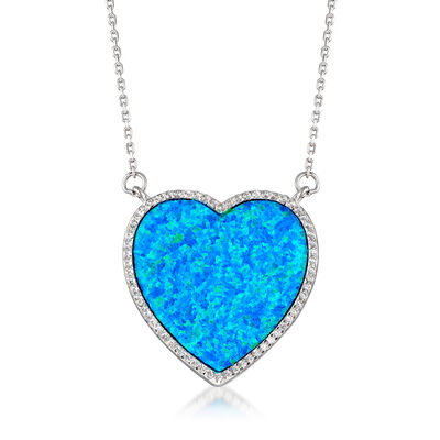 Blue Synthetic Opal and .30 ct. t.w. CZ Heart-Shaped Necklace in Sterling Silver, , default