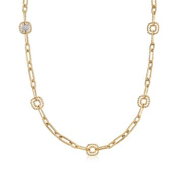 "Roberto Coin ""Barocco"" .17 ct. t.w. Diamond Link Necklace in 18kt Yellow Gold. 32"", , default"