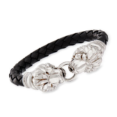 Italian Sterling Silver Double Lion Head Black Leather Bracelet with Magnetic Clasp, , default
