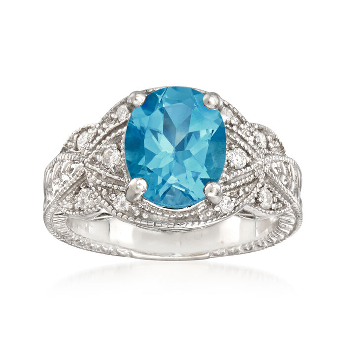 C. 1990 Vintage 3.40 Carat Blue Topaz and .25 ct. t.w. Diamond Ring in 14kt White Gold. Size 6.75, , default