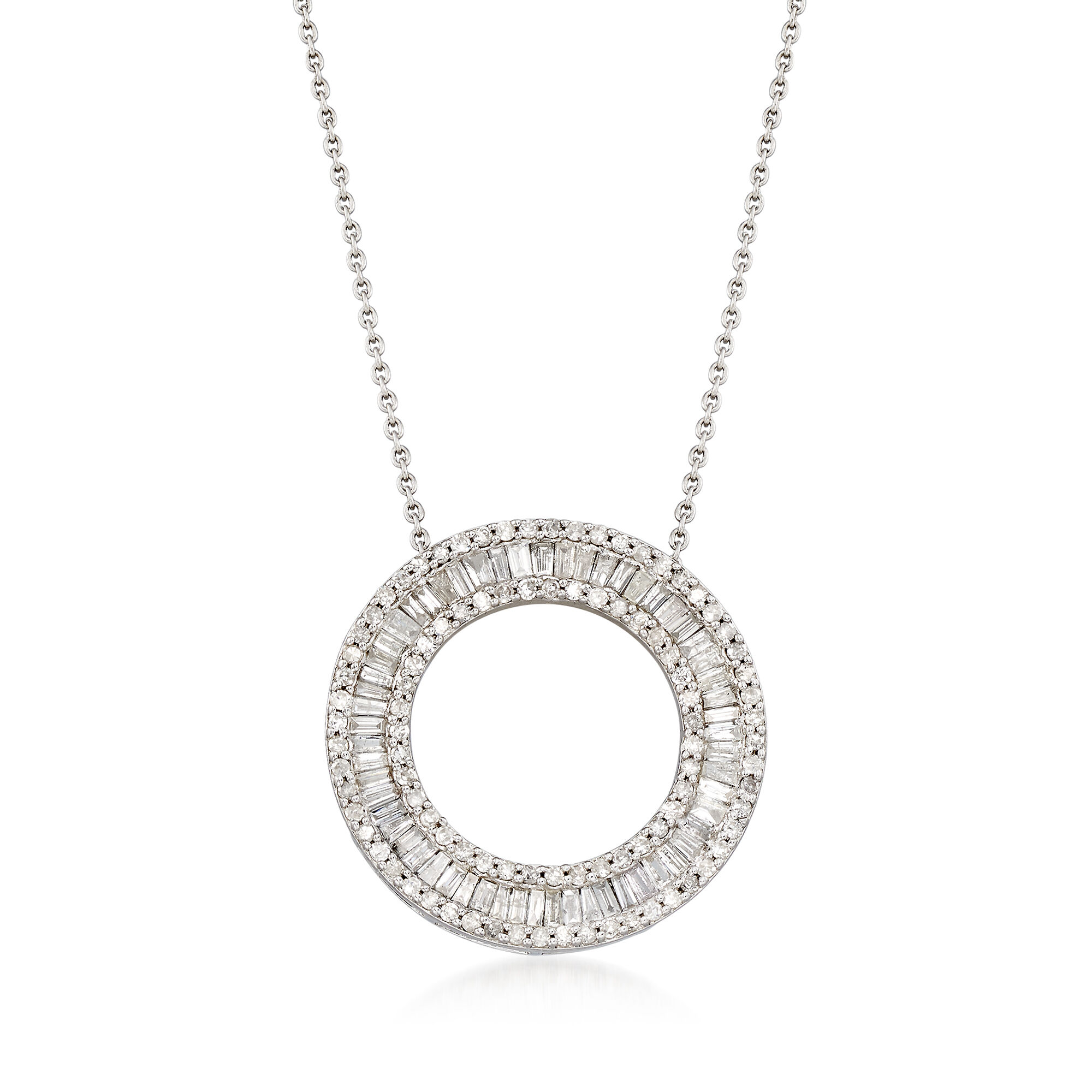 DiamondJewelryNY Silver Pendant Ss Pnk Whte//Long Lgnth Neck 36