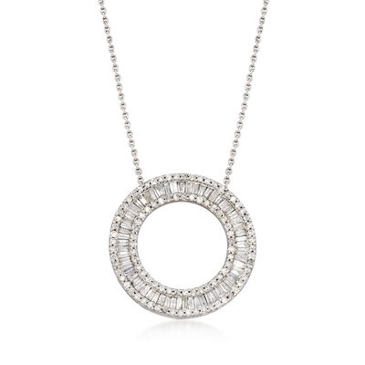 1.00 ct. t.w. Diamond Circle Pendant Necklace in Sterling Silver