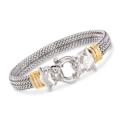 Italian Two-Tone Sterling Silver Double Panther-Head Bracelet, , default