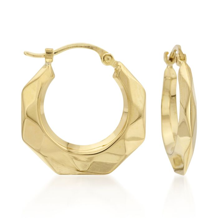 "14kt Yellow Gold Hoop Earrings. 3/4"", , default"